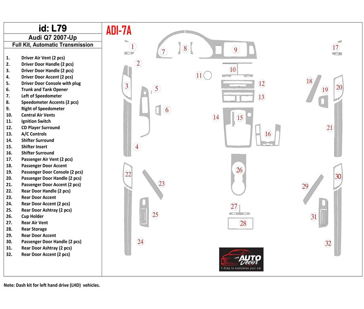 AUDI ADI-7A Audi Q7 2007-UP Ensemble Complet, Automatic Gear, Aluminum OEM BD Décoration de tableau de bord