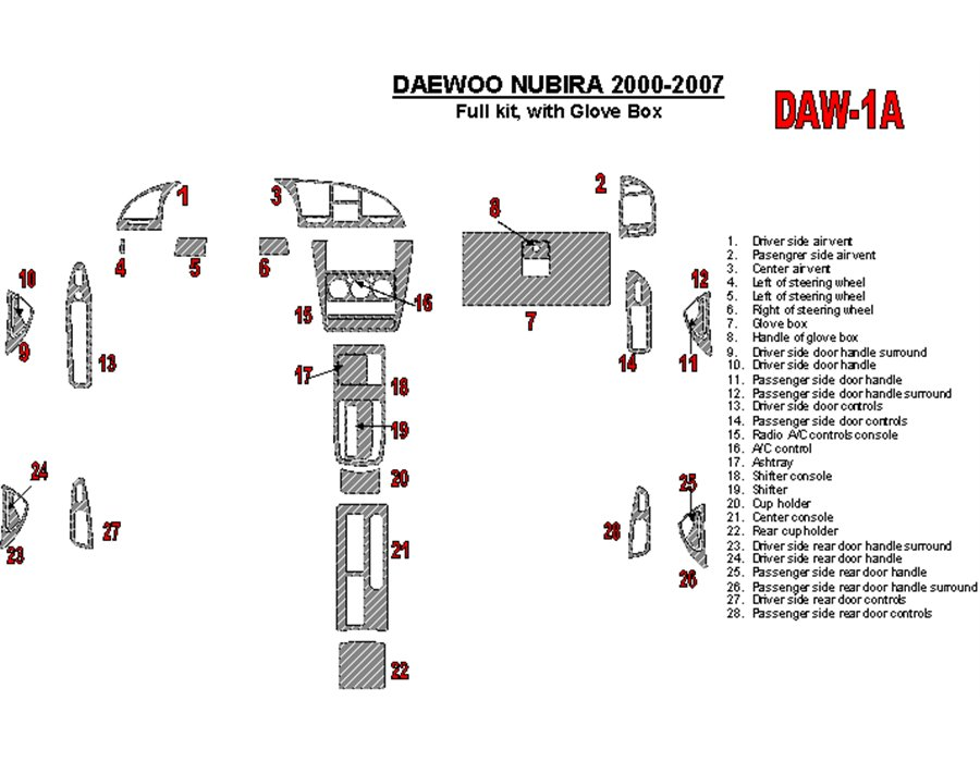 DAEWOO DAW-1A Daewoo Nubira 2000-2007 Ensemble Complet, with glowe-box BD Décoration de tableau de bord